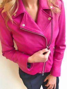 leather jacket in pink