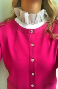 pink blouse stand up collar blouse