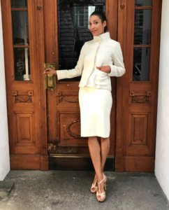 girlfriends style cream skirt and blazer